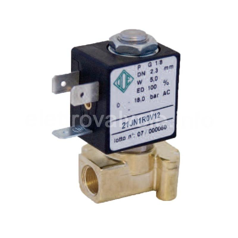 Electroválvula de 2 vías 1/8 21JN1R0V12 agua, café, aire, aceites minerales, gasolina, diesel